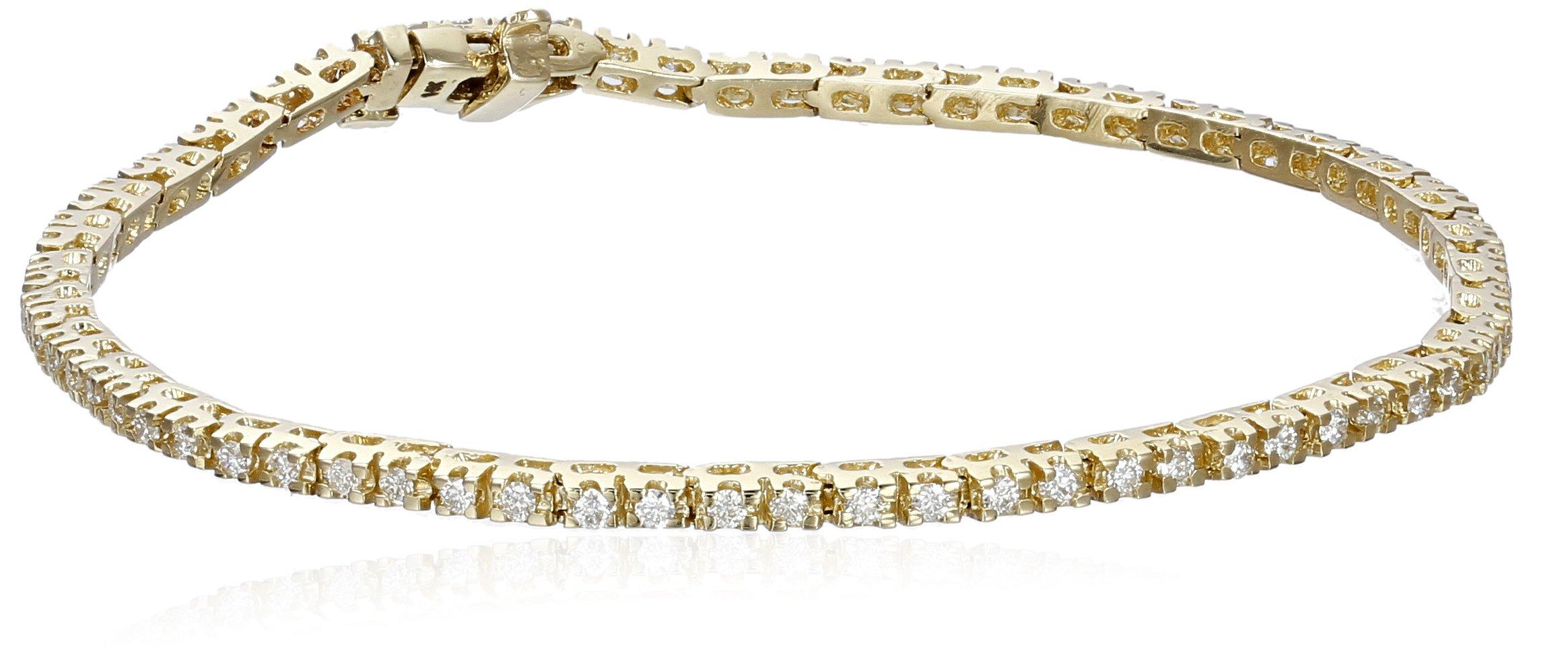 IGI Certified 14k Yellow Gold Diamond Tennis Bracelet (1cttw, H-I Color, I1 Clarity), 7''