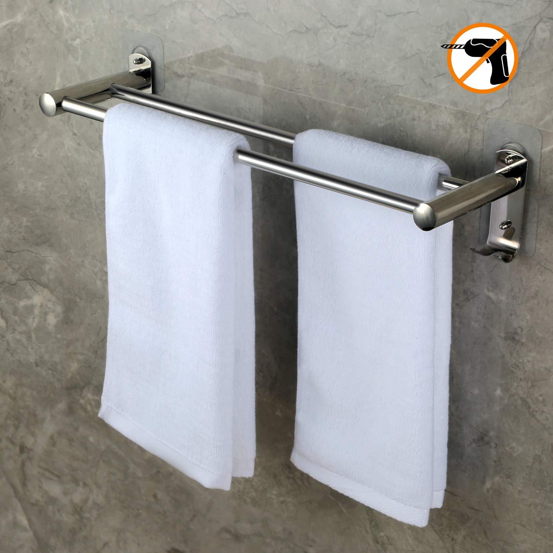 Toallero 50 CM con gancho pared, CHOELF Max 8KG estanteria baño toallero pared adhesivo con ganchos de acero inoxidable, Toalleros de gancho para con Doble ...