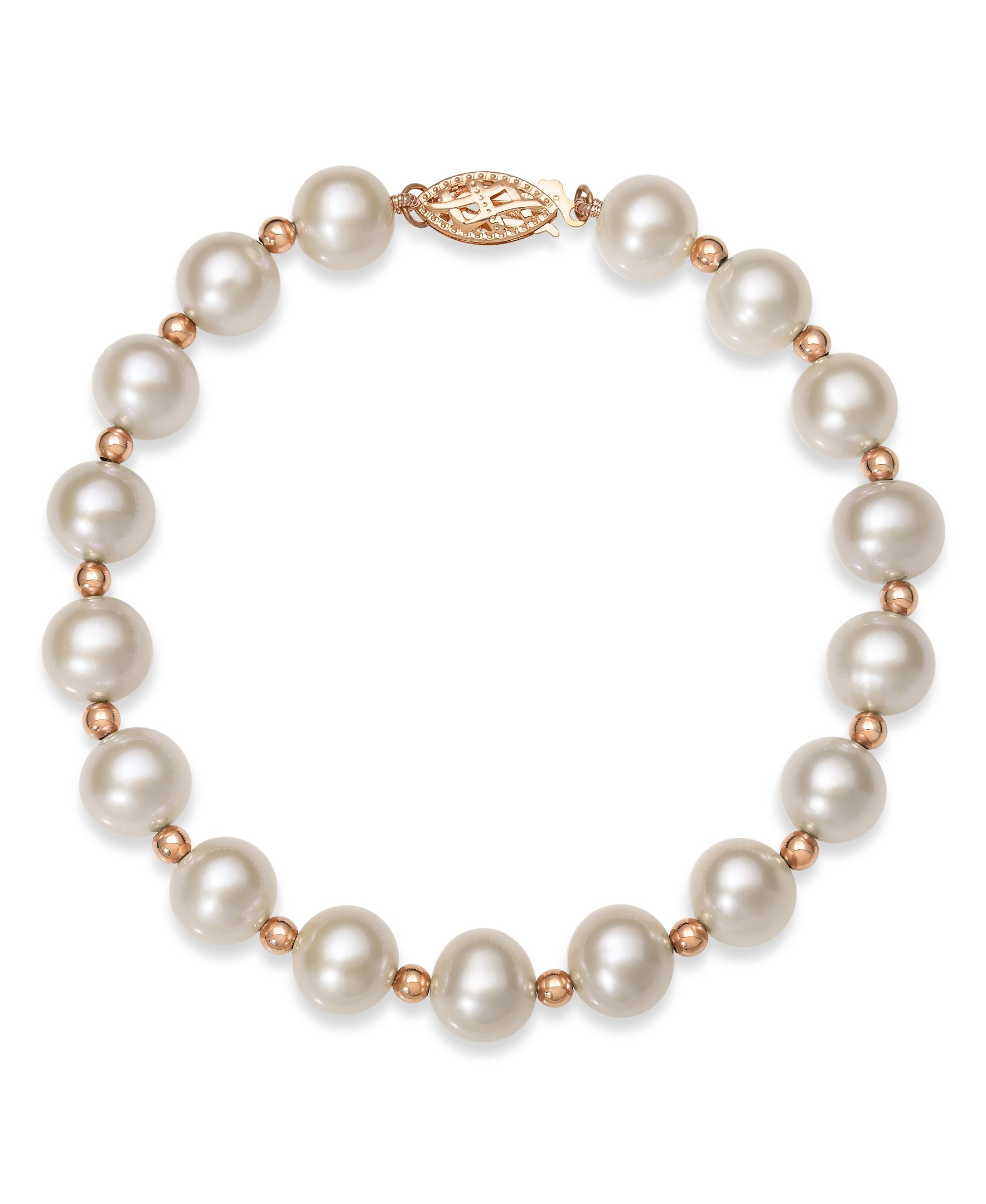 14K Rose Gold Cultured Freshwater Pearl Beaded Bracelet,7.5''