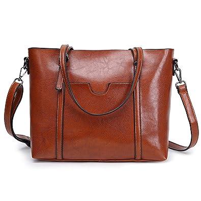 Women Bag Leather Casual Vintage Shoulder Bag Handbags Cross Body Bag Large  Capacity Bags (Brown 7b47b6df796
