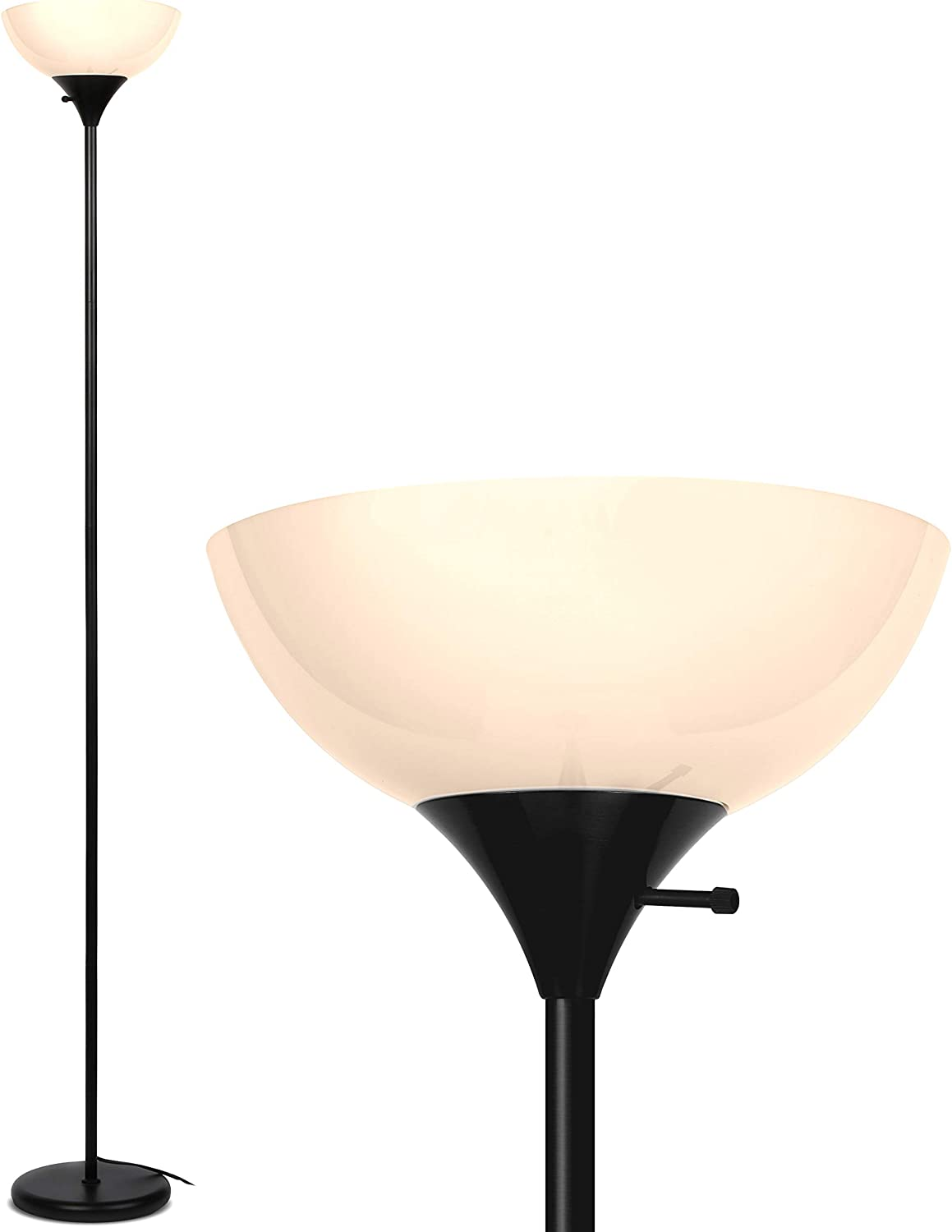 Brightech Sky Dome - Very Bright LED Torchiere Floor Lamp for Living Rooms & Offices– Dimmable Modern Standing Lamp – Tall Pole Light for Bedrooms – LED Bulb Included - Jet Black