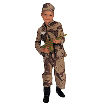Young Heroes Deluxe Child Special Forces Costume,Brown camo, Medium: Toys & Games