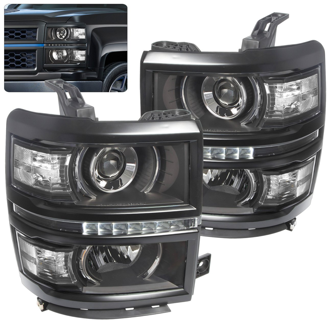 All Chevy 95 chevy headlights : Amazon.com: [U Neon Bar Style] [Black] 2014 2015 Chevy Silverado ...