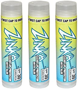 Zinka Clear Lip Protector With Aloe SPF 30 Sunscreen Lip Balm .15 Ounce (Pack of 3)