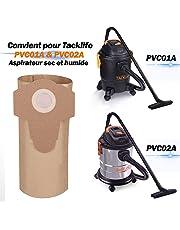 Tacklife Sachet Filtre Papier, Papier Composite de Double Couche, Sac à Poussière pour Aspirateur Approprié pour Aspirateur avec Tuyau de Diamètre de 60mm PVC00Z