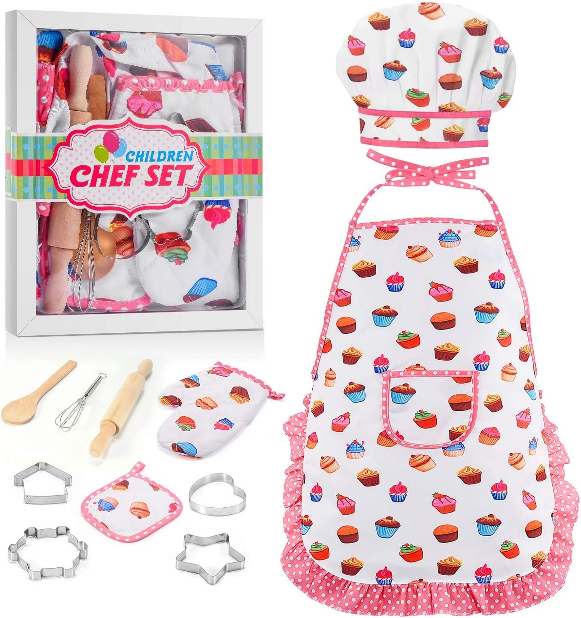 Rolling Pin Oven Mitt Plates QAQGEAR 130 Pcs Childrens Cake Cooking Baking Apron Cake Mold Set Chef Role Play Costume Toddler Apron and Chef Hat Girl Dress Up Includes Apron Pot Holders