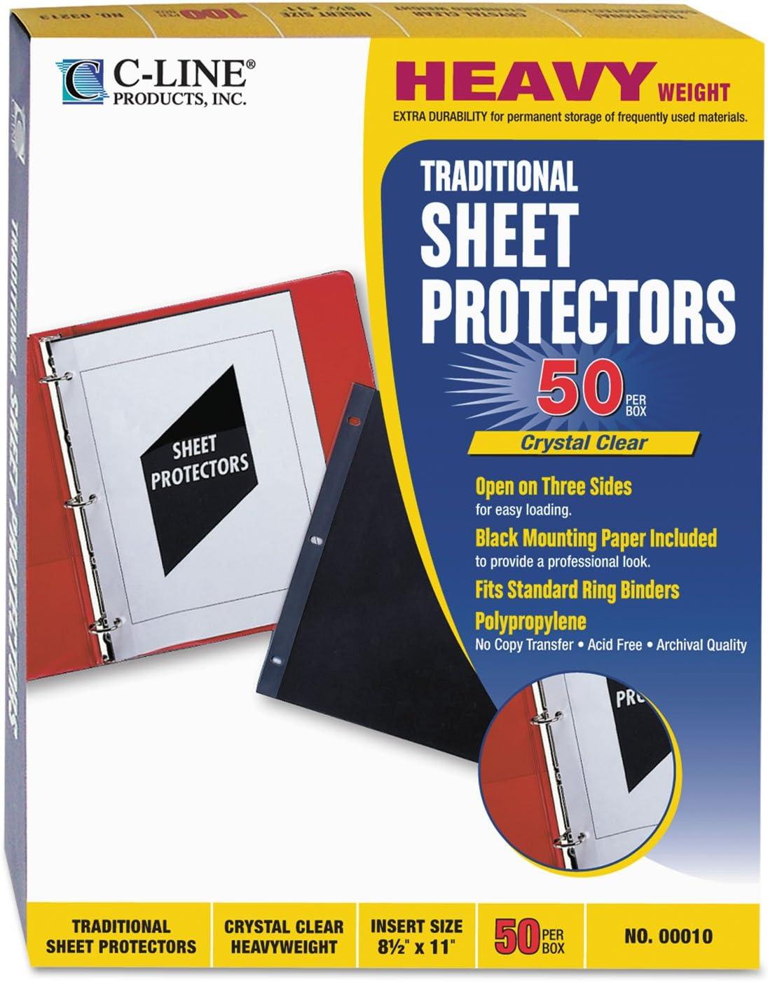 """C-Line Standard Weight Polypropylene Sheet Protector Clear 2/"""" 11 x 8 1//2 100//BX"""