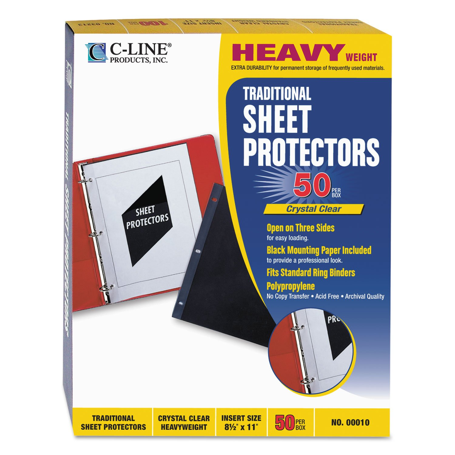 C-Line 00010 Traditional Polypropylene Sheet Protector, Heavyweight, 11 x 8 1/2, 50/BX C-LINE PRODUCTS INC.