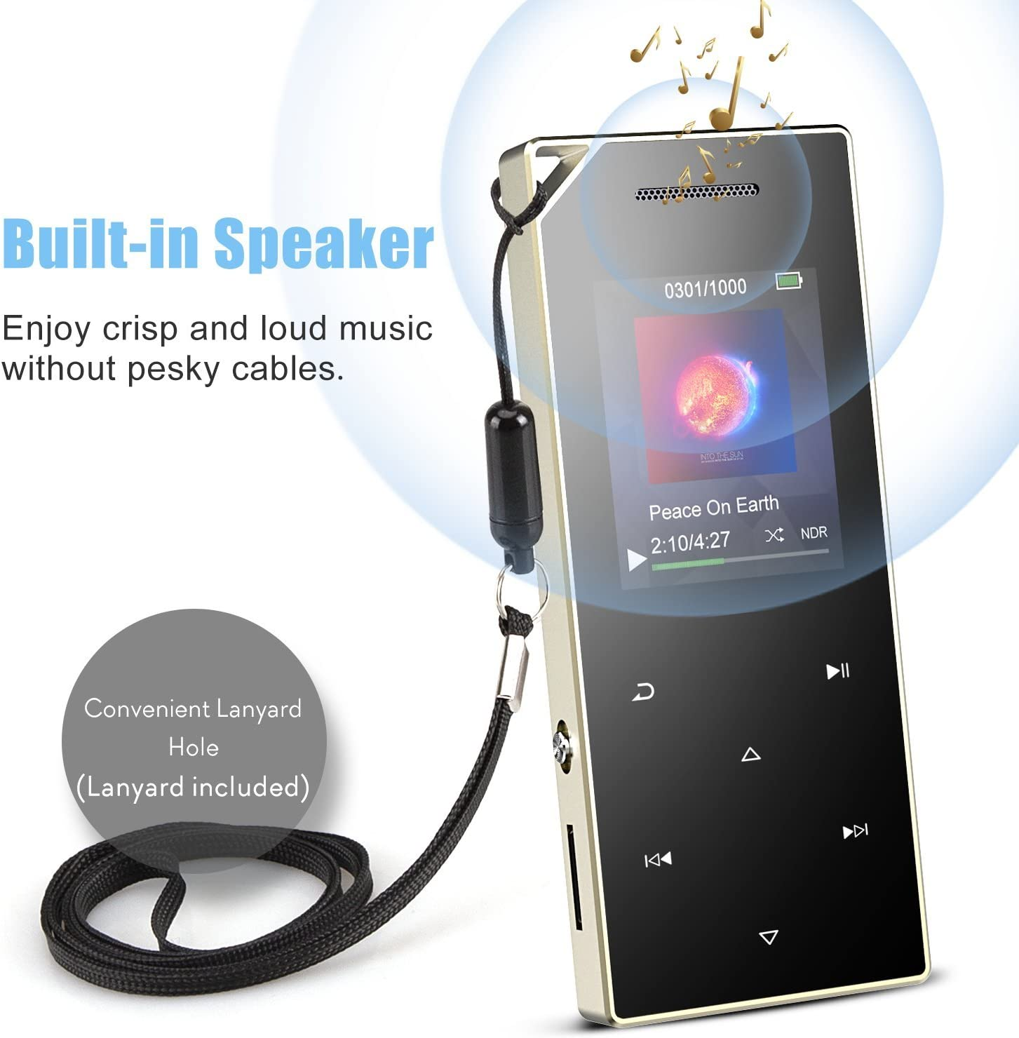 Voice Recorder X21S AGPTEK Touch Button Lossless Sound Music Player with Speaker FM Radio up to 128GB with Earphone 16GB MP3 Player with Bluetooth