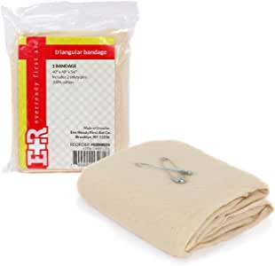 "Ever Ready First Aid Triangular Bandage, 40"" x 40"" x 56"", 12 Count- 100% Cotton"