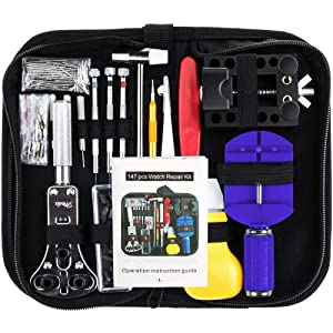 Vastar 151 PCS Watch Repair Kit, Watch Repair Tools Professional Spring Bar Tool Set, Watch Band Link Remover Tool Set with Carrying Case (Medium)