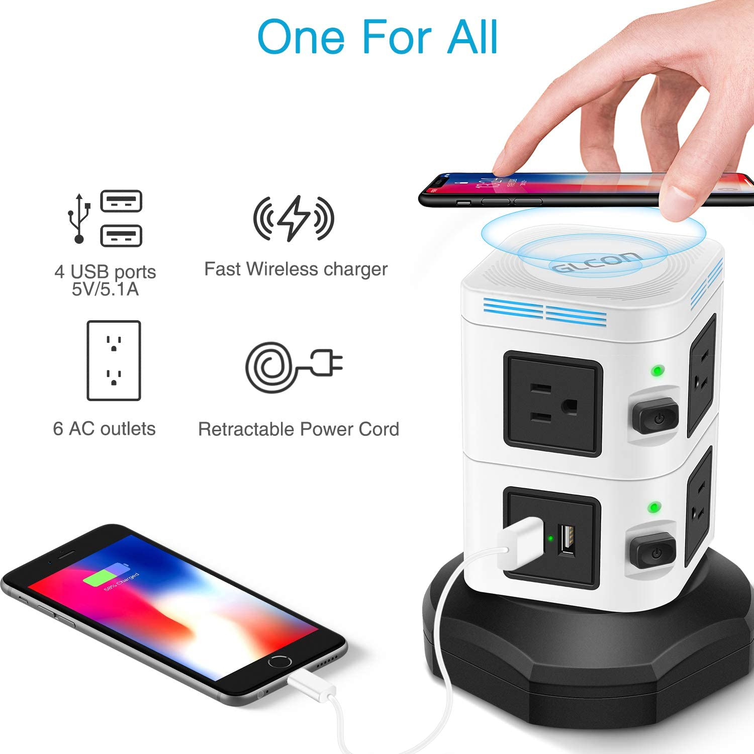 Power Strip Tower Wireless Charger - GLCON Surge Protector Electric Charging Station 3000W 13A 6 Outlet Plugs 4 USB Ports + 6ft Extension Cord Universal Socket PC Laptops Phone