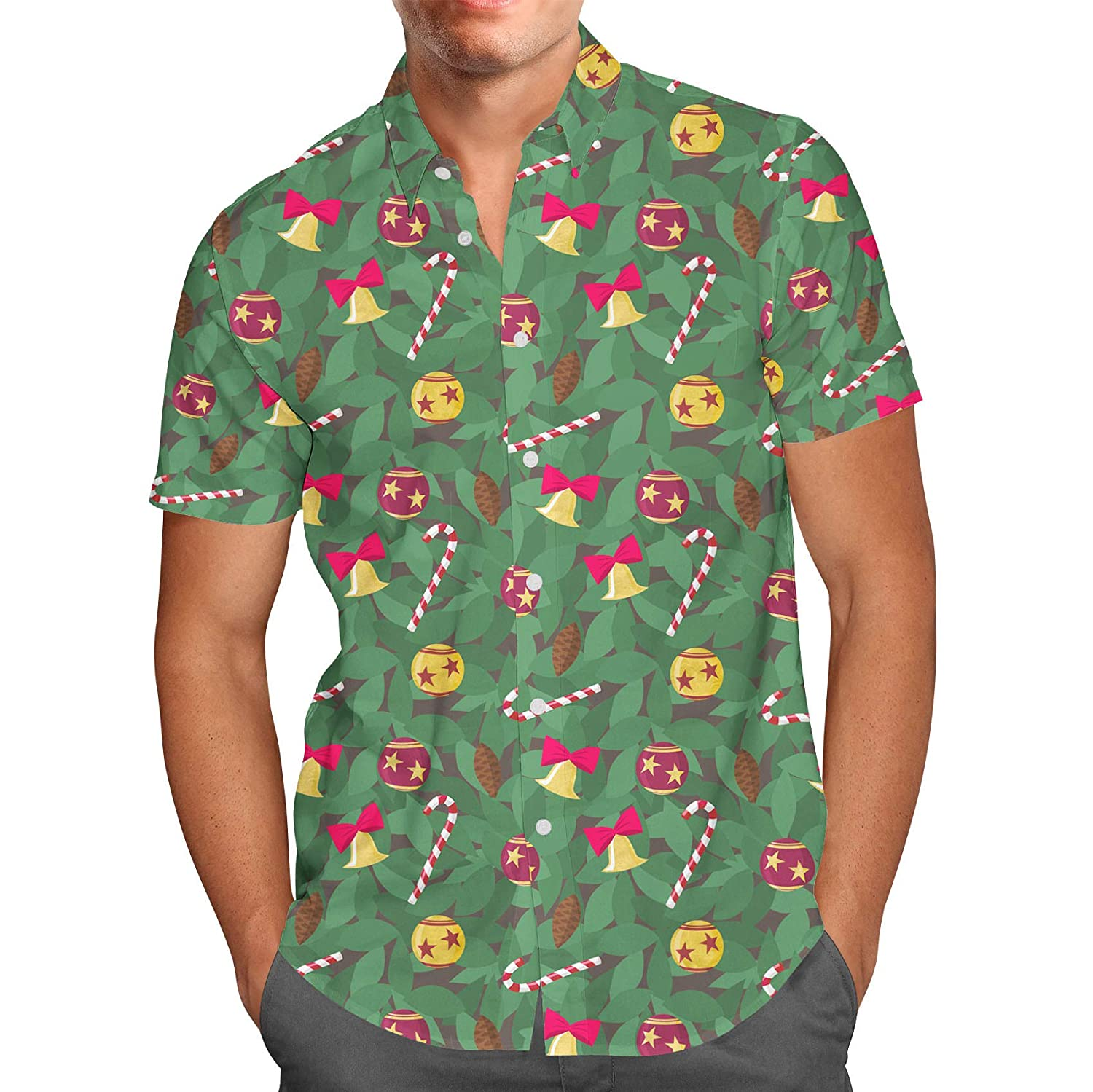 Queen of Cases Christmas Tree Mens Button Down Short Sleeve Shirt