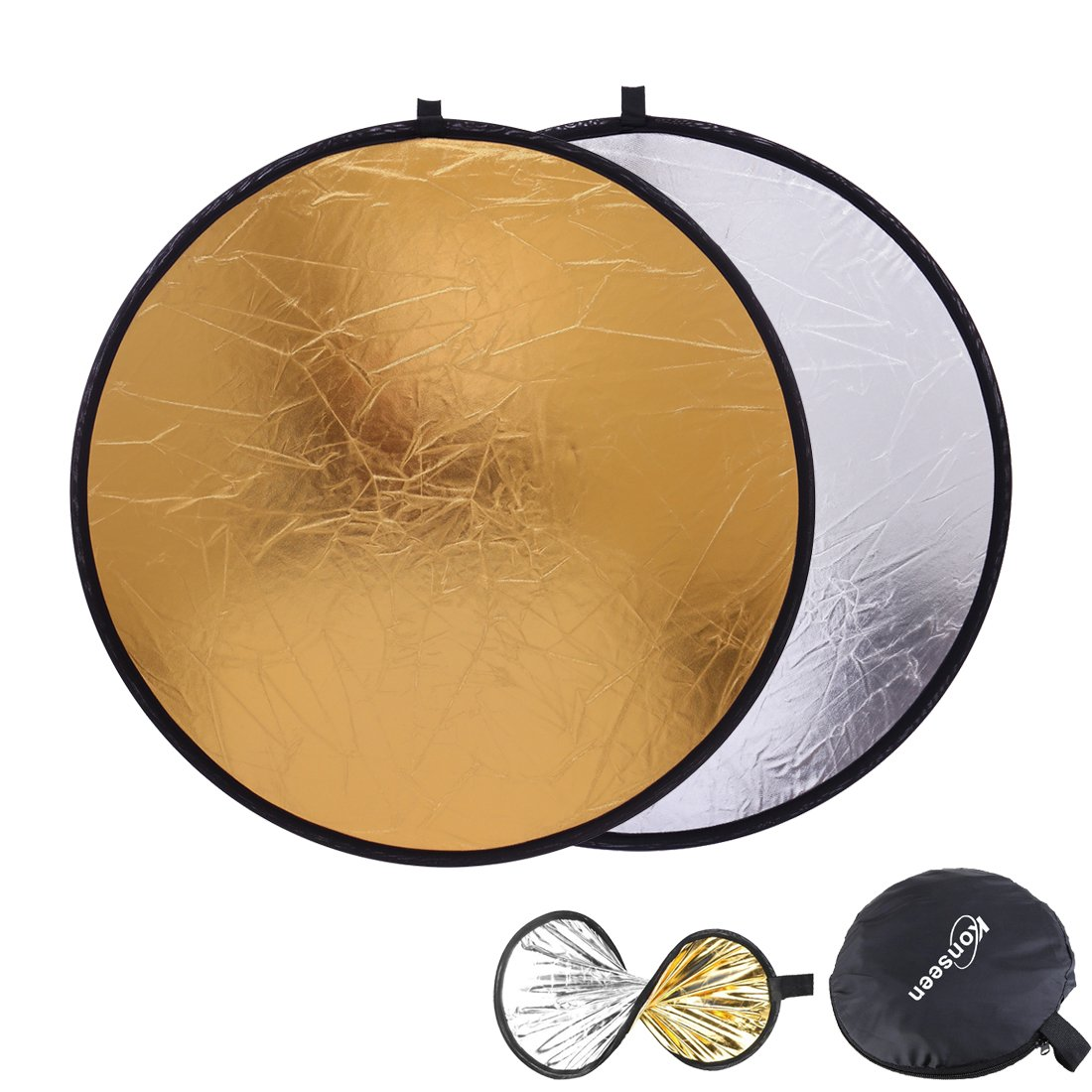 Light Bounce Reflector 32inch (80cm) Round Collapsible Sun Reflectors Diffuser Gold and Silver 2 in 1 for Photography Camera Flash Lighting Photo Shooting