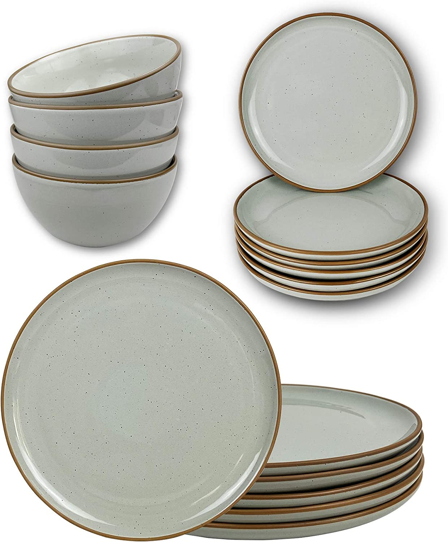 Mora Ceramic Dinner Plates, Salad Plates, Cereal Bowls Bundle - Microwave, Oven and Dishwasher Safe, Modern Dinnerware - Earl Grey