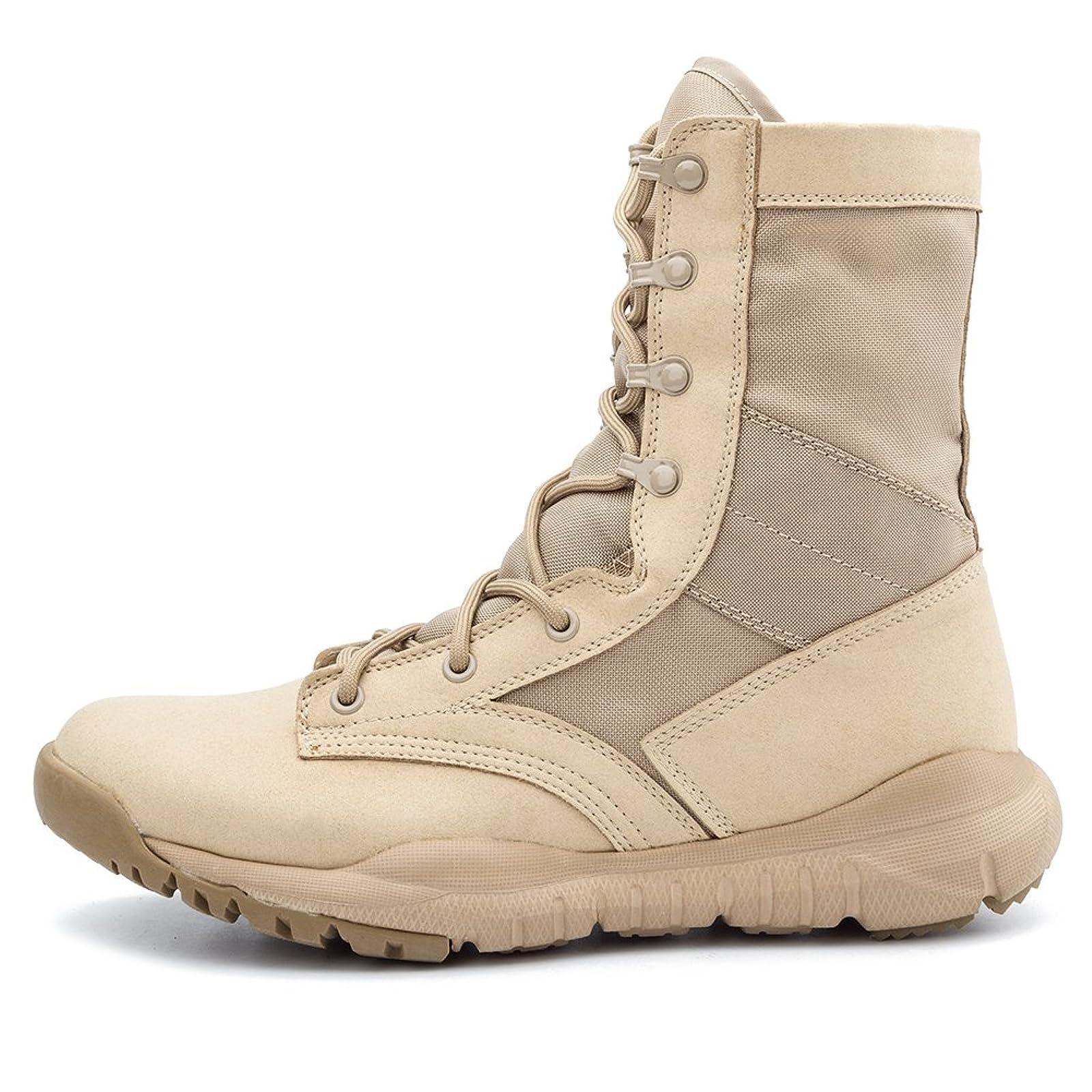 IODSON US Mens' Ultra-Light Combat Boots Beige 9.5 M US - 1