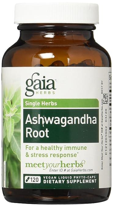 Gaia Herbs Ashwagandha Root Liquid Phyto Capsules, 120 Count