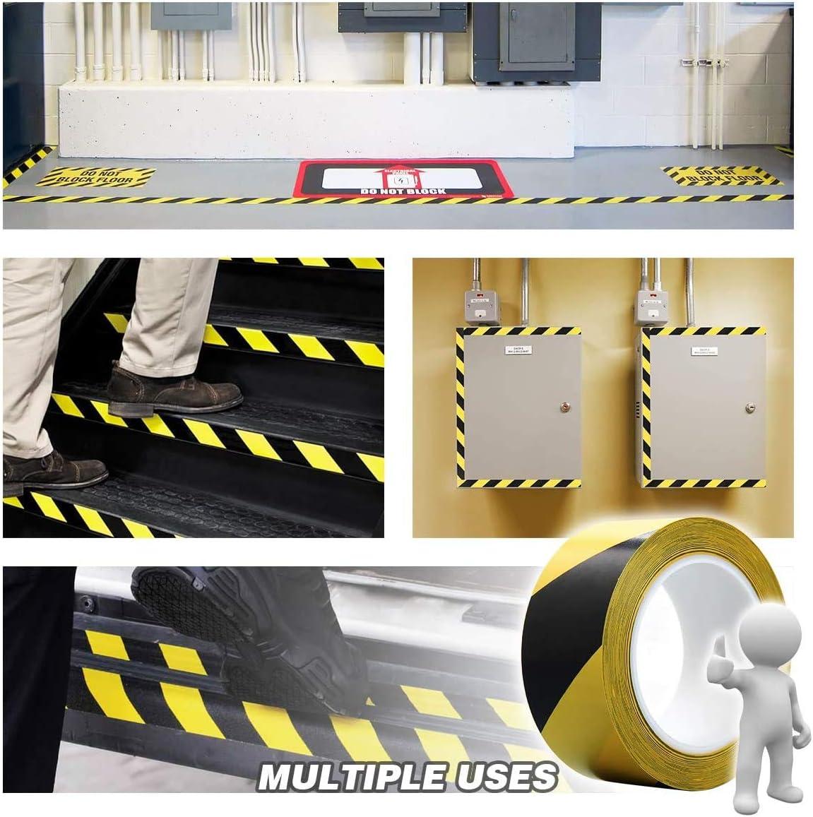 50 mm x 33 m Boden Markierungsband Absperrband Sicherheitsband Gefahr Warnung Klebeband Bodenmarkierungsband fur Treppen Schritte Warnband selbstklebend Schwarz/&Gelb