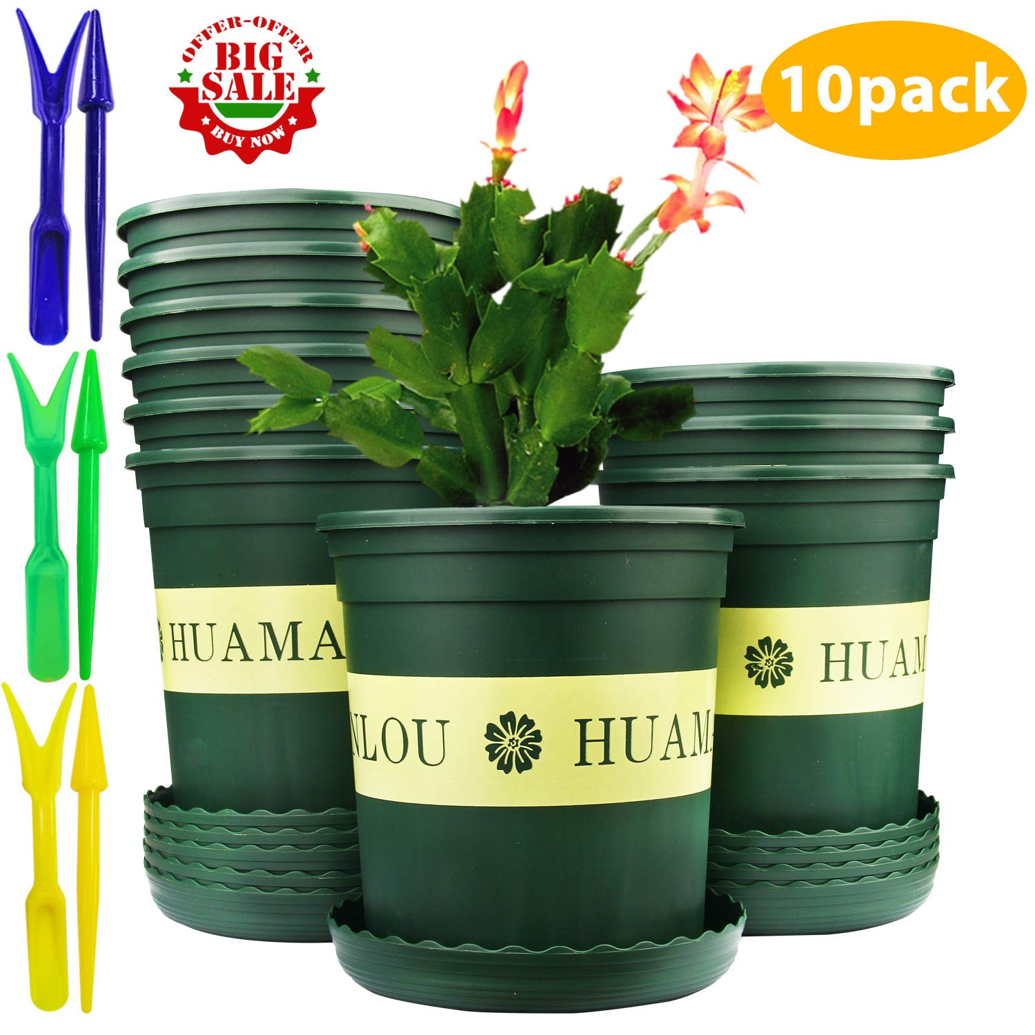 Brajttt 10PCS 1 Gallon Durable Nursery Pot/Garden Planter Pots/Nursery Plant Container with 10PCS Pallet