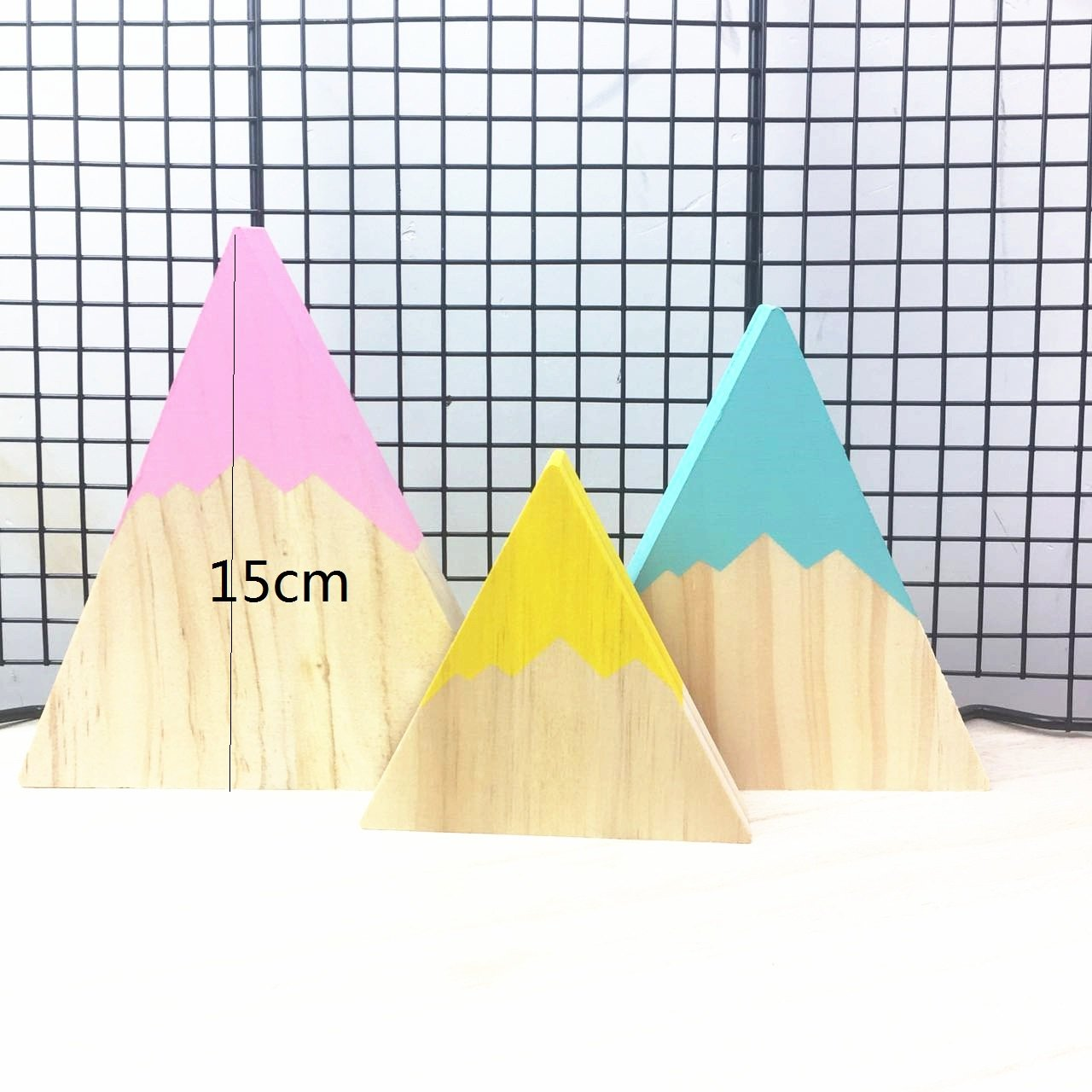 Gold Happy Nordic Top Woodland Wood Mountain Decorative Handmade Kids Bookends Home Decor Wooden Mountain Children's Room Decoration Blocks