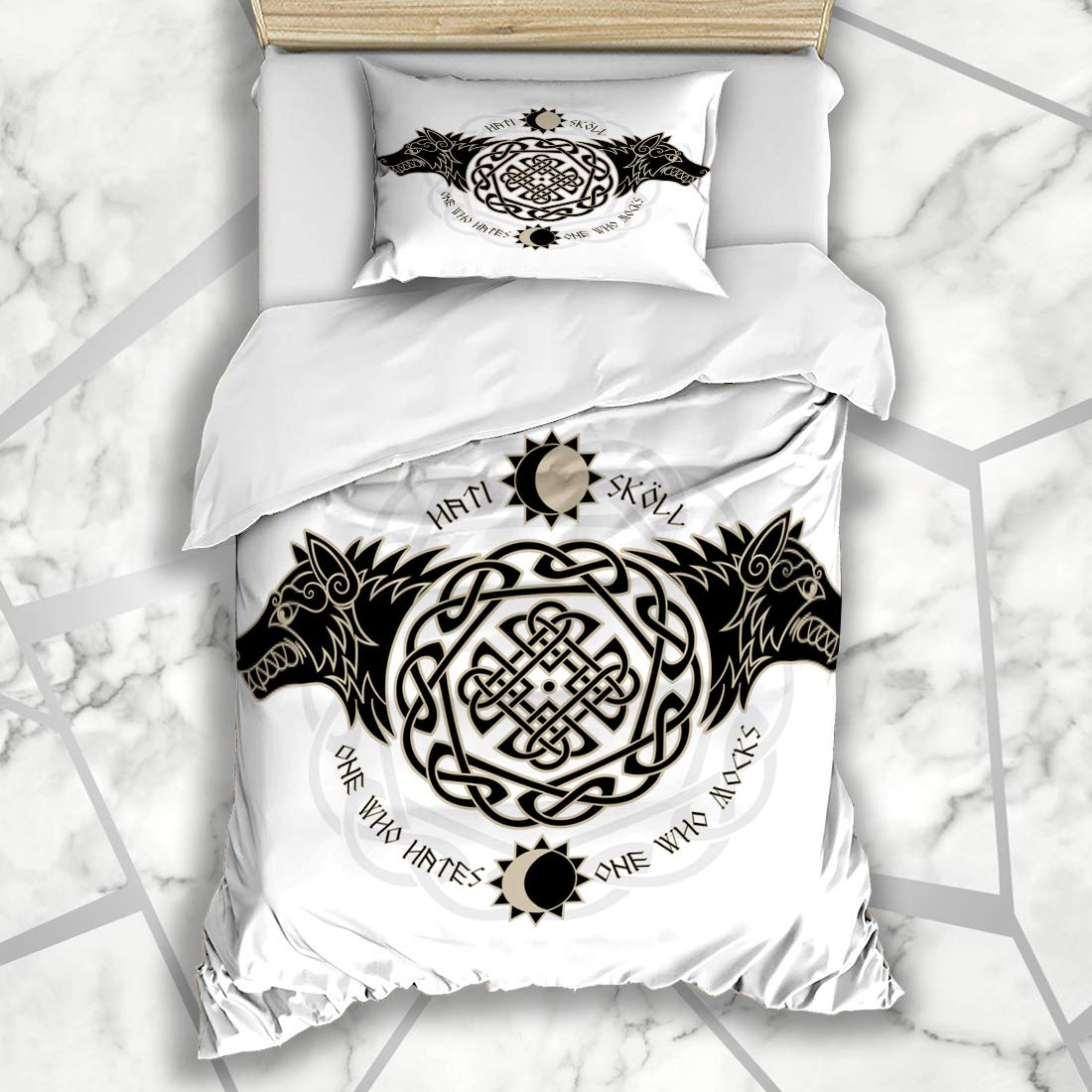 Ahawoso Duvet Cover Sets Twin 68x86 Two Wolves Wolf Norse Wisdom Hati Ring Skoll Signs Isolated Nordic Symbols Vintage Valknut Viking Soft Microfiber Decorative Bedroom with 1 Pillow Shams
