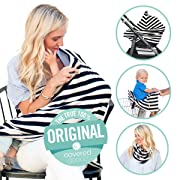 Covered Goods - The Original Multi Use Maternity Breastfeeding Nursing Cover, Infinity Scarf, and Car Seat Cover - Classic Black & Ivory