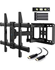 PERLESMITH TV Wall Mount Bracket Full Motion Dual Articulating Arm for Most 37-70 Inch LED, LCD, OLED, Flat Screen,Plasma TVs up to 132lbs VESA 600x400mm with Tilt, Swivel and Rotation