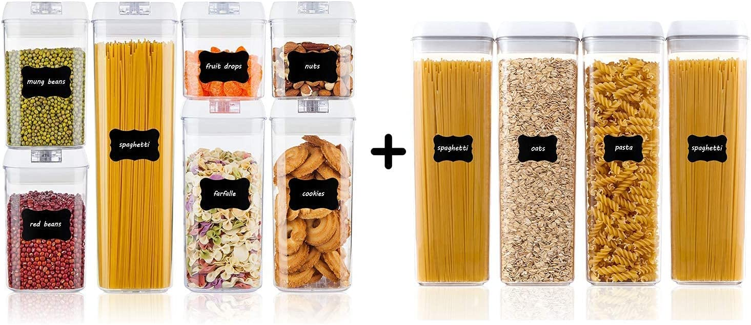 Vtopmart 7pcs Airtight Containers and 4pcs Tall Spaghetti Containers