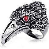 JewelryWe Schmuck Biker Herren-Ring, Edelstahl, Retro Adler Falke, Schwarz Silber Größe 52 bis 72