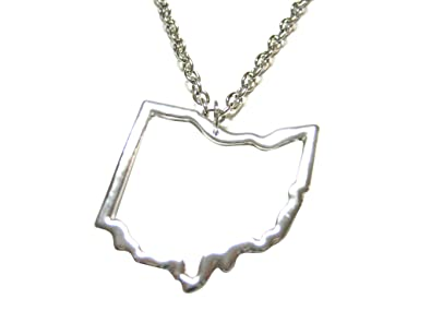 Amazon Com Silver Toned Ohio State Map Outline Pendant Necklace