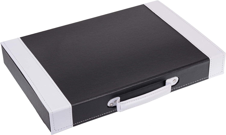 GR/ÄWE Mallette /à couverts vide en cuir synth/étique avec inserts pour 30 couverts Noir//blanc