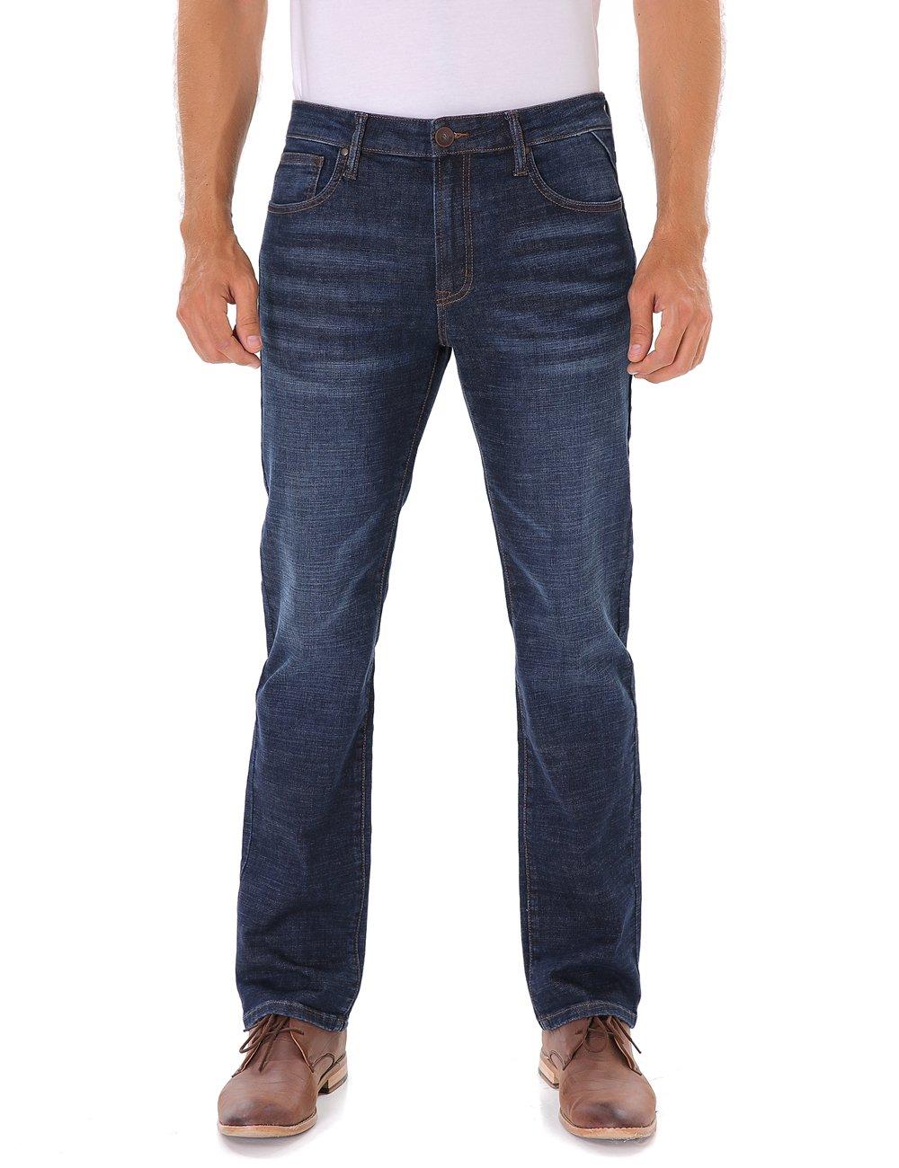 Indigo alpha Men's Stretch Slim-Fit Straight Jeans Summer,Blue,36W x 32L