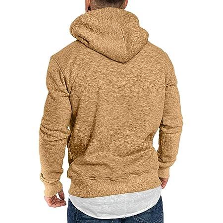 Amazon.com: Men Casual Sweatshirt,Boys Long Sleeve Autumn Winter Hoodies Top Blouse Tracksuits (L, Khaki 2): Electronics