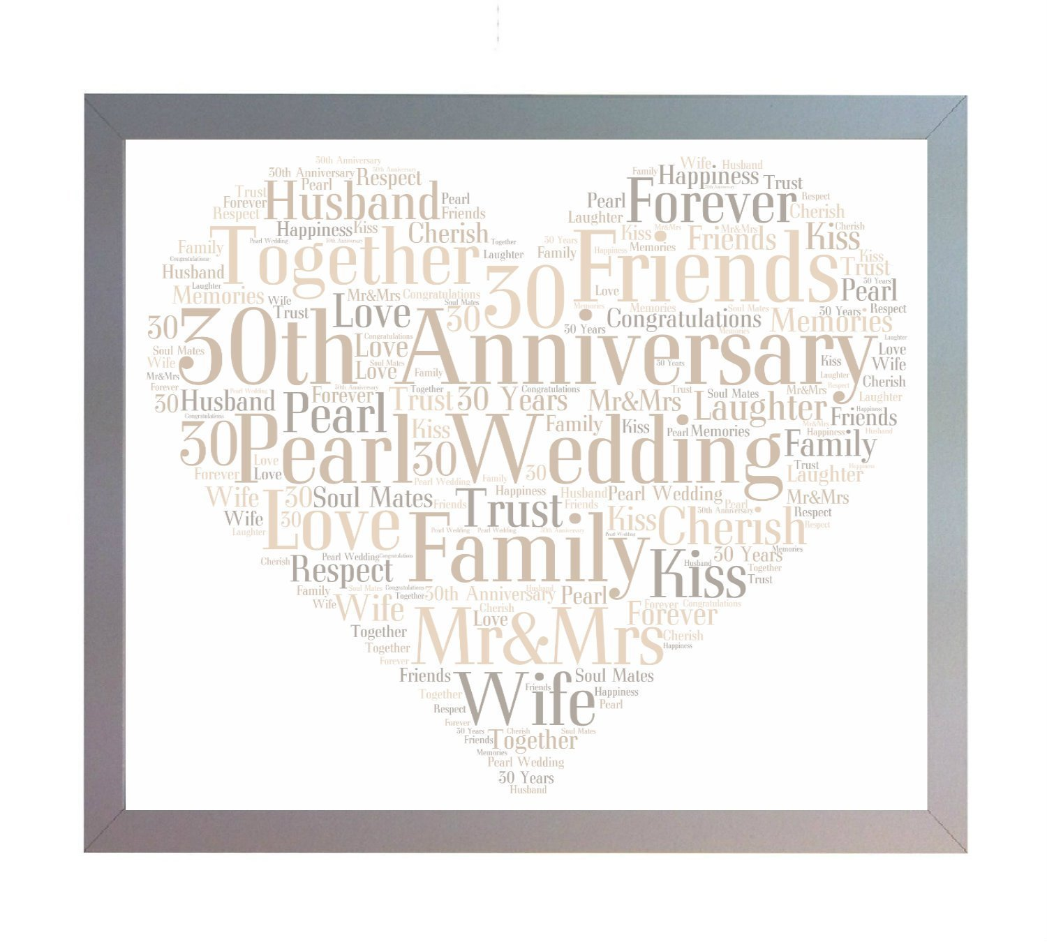 Framed 30th Pearl Wedding Heart Anniversary Word Art A4 Print. Photo Picture Keepsake Gift for Mum, Dad, Gran, Grandad, Friend & Family Oaktree Gifts