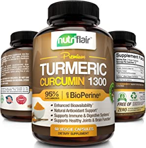 NutriFlair Premium Turmeric Curcumin Supplement (1300mg) with BioPerine Black Pepper (60 Capsules, 30 Day Supply) - Powerful Joint Pain Relief, Anti-Inflammatory Antioxidant - GMO and Allergen Free