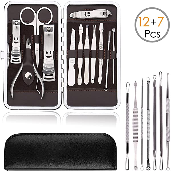 KINGMAS 19-Piece Stainless Steel Manicure Pedicure Set Nail Clippers and Blackhead Remover Pimple Acne Removal Tool Grooming Kit with Leather Travel Case (12+7) (Color: Lumbar Cushion color-2654, Tamaño: Lumbar Cushion-2654)