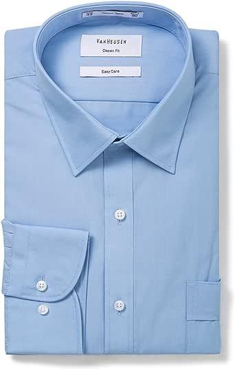 Van Heusen Men's Classic Fit Poplin Shirt, Classic Blue, 46cm Collar x 94cm Sleeve