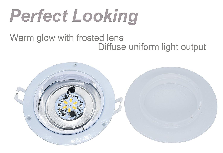 Facon 4.5Inch LED RV Puck Light Full Aluminum Recessed Mount Down Light 12V DC 4W 280Lumens
