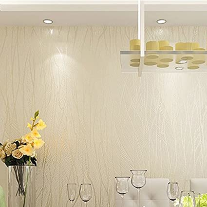 Eshion Modern Lines Flocking Non Woven Embossed Textured Wallpaper Roll Wall Sticker For Livingroom Bedroom