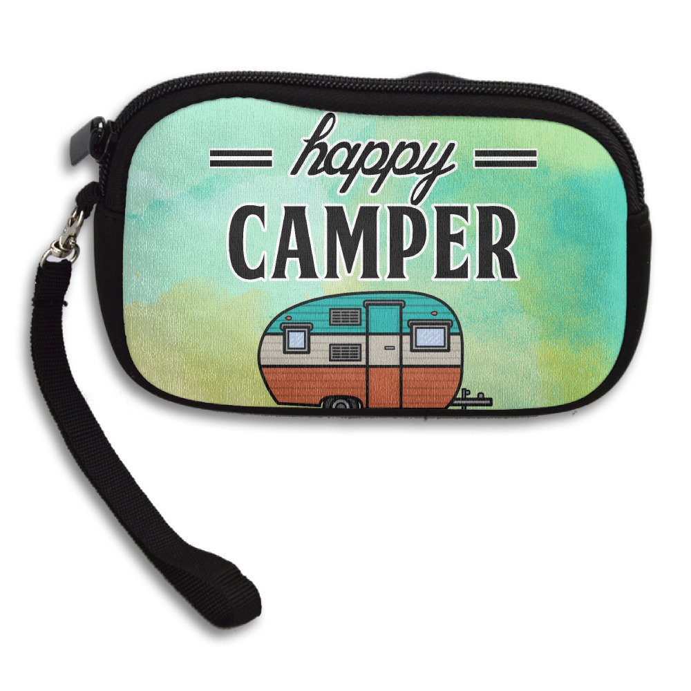 Happy Camper Camping Outdoor Zipper Change Purse Coin Wallet Card Holder With Key Ring Portable Purse Pouch Bag