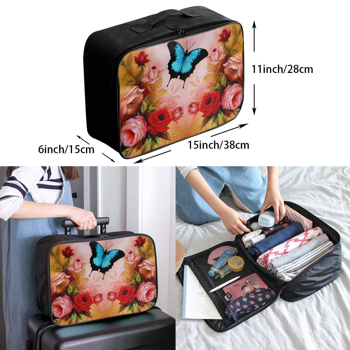 Travel Luggage Duffle Bag Lightweight Portable Handbag Fantasy Colorful Butterfly Large Capacity Waterproof Foldable Storage Tote