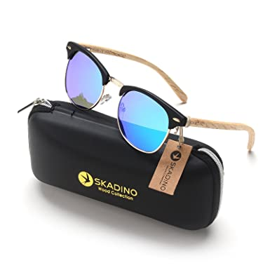 78f03d1e2d9 SKADINO Clubmaster Beech Wood Sunglasses with Polarized Lens-Green Mirror