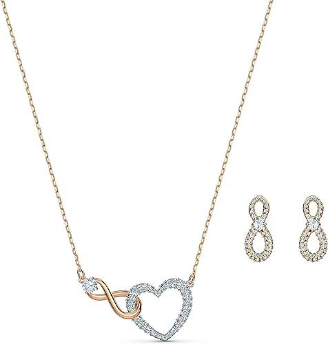Swarovski Parure Swarovski Infinity Heart, blanc, finition mix de métal