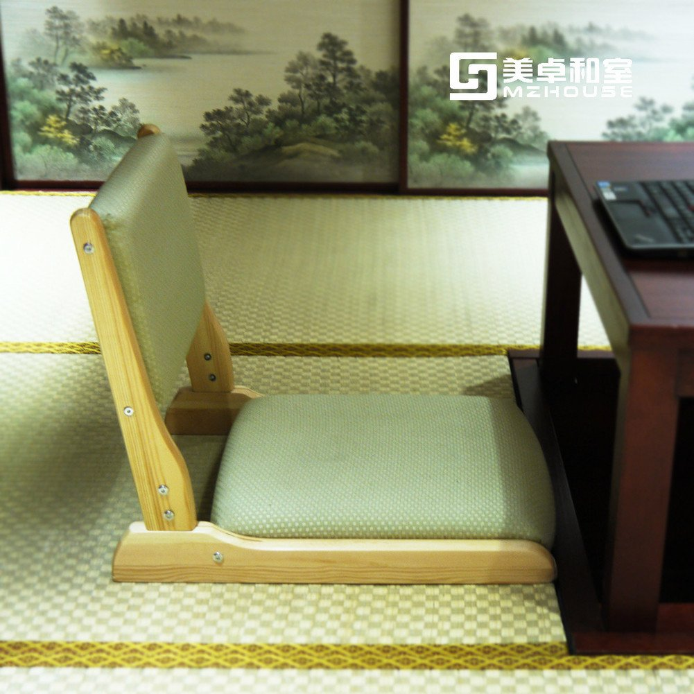 Denzihx Chair Without Legs, [Japanese-Style] Tatami mats Floor Chair Backrest Meditation Natural Materials Minimalism-A