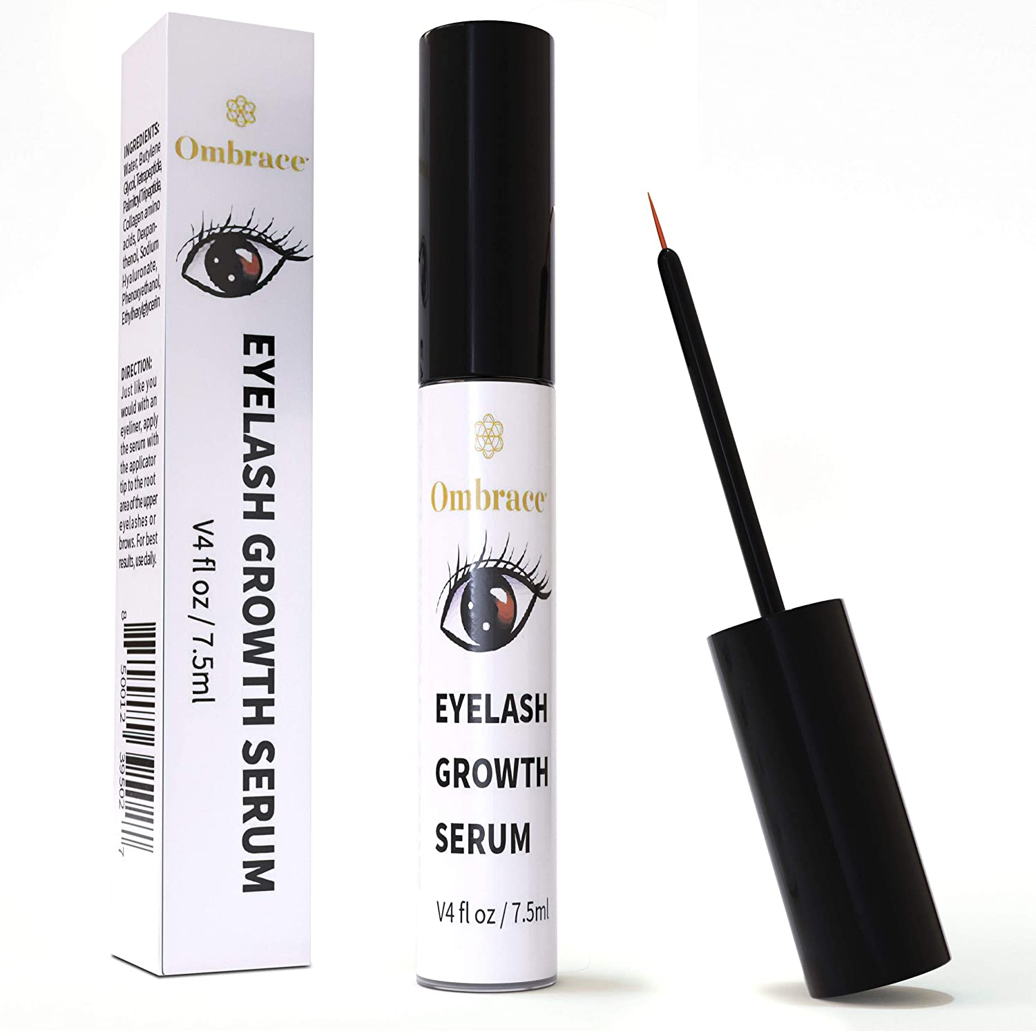 Eyelash Growth Serum - Eyebrow Growth Serum - Irritation Free Formula - Lash & Brow Boost Serum - Enhancer For Longer & Thicker Eyelashes & Eyebrows - [Bonus Size 7.5ml] By Ombrace Eyelash Serum