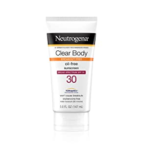 Neutrogena Clear Body Liquid Lotion Sunscreen for Acne-Prone Skin, Broad Spectrum SPF 30 with Helioplex Technology, Oxybenzone-Free, Oil-Free, Fragrance-Free & Non-Comedogenic, 5 fl. oz