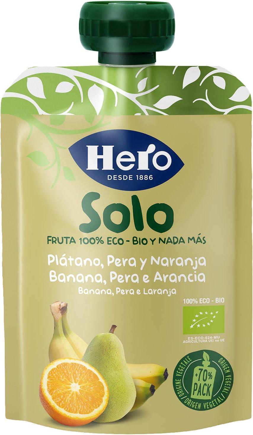 Hero Baby Solo Bolsita de Plátano, Pera y Naranja Puré de Frutas Ecológico para Llevar para Bebés a partir de 4 meses Pack 18x100 g: Amazon.es: Alimentación y bebidas