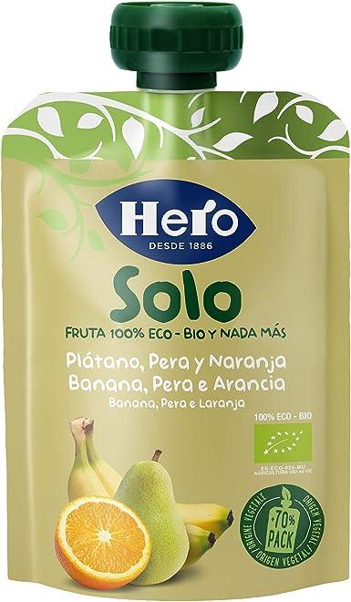HERO Baby pera, plátano y naranja 100% ecológico - 100 gr (BIO): Amazon.es: Alimentación y bebidas