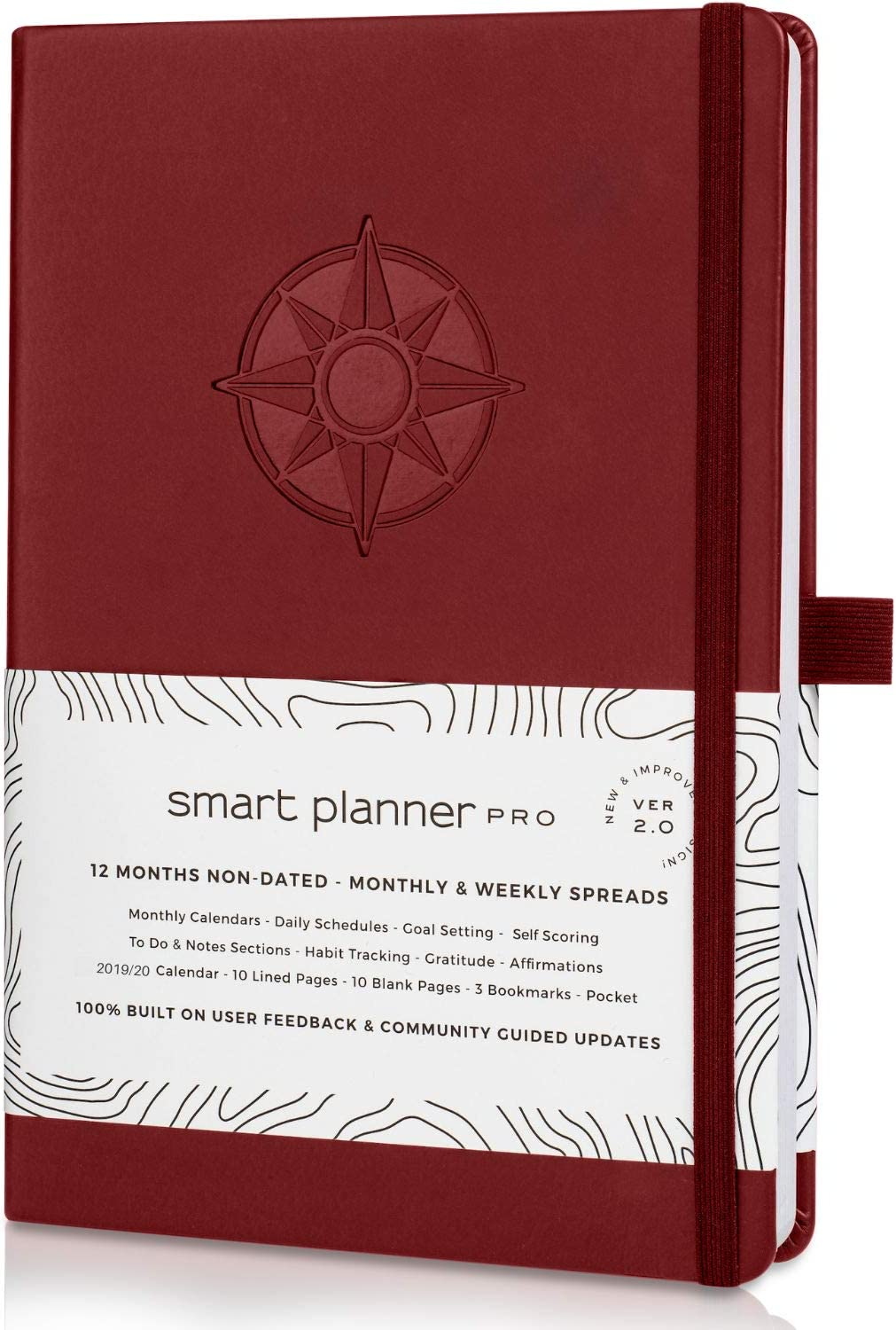 Planner 2020-2021 - Tested & Proven to Achieve Goals & Increase Productivity, Time Management & Happiness - Daily Weekly Monthly Planner with Gratitude Journal, Hardcover, Undated (Red)