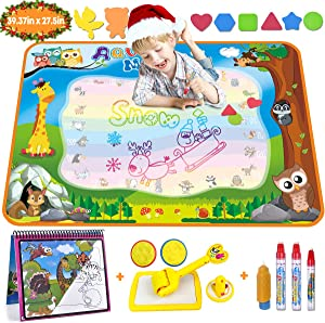 Aqua Magic Doodle Mat Large Water Drawing Mat for Kids Gifts Educational Toy Toddler Painting Board with Water Coloring Book, 3 Magic Pens, 1 Magic Brush and Stamps for Boys Girls Age 18 Month up